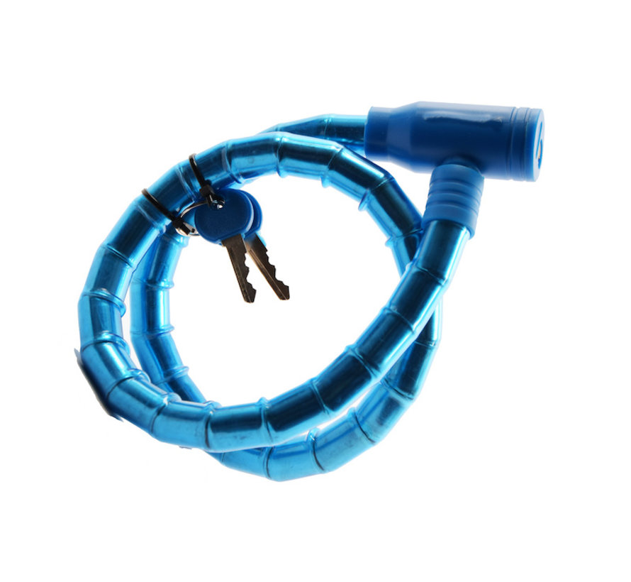 Children's bicycle lock - bicycle lock Including 2 keys - Bicycle lock blue Snake lock 1.8 CM x 80 CM