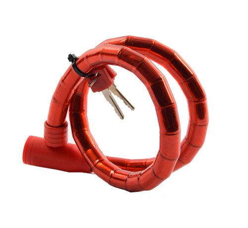 Discountershop Children's bicycle lock - bicycle lock Including 2 keys - Bicycle lock red Snake lock 1.8 CM x 80 CM
