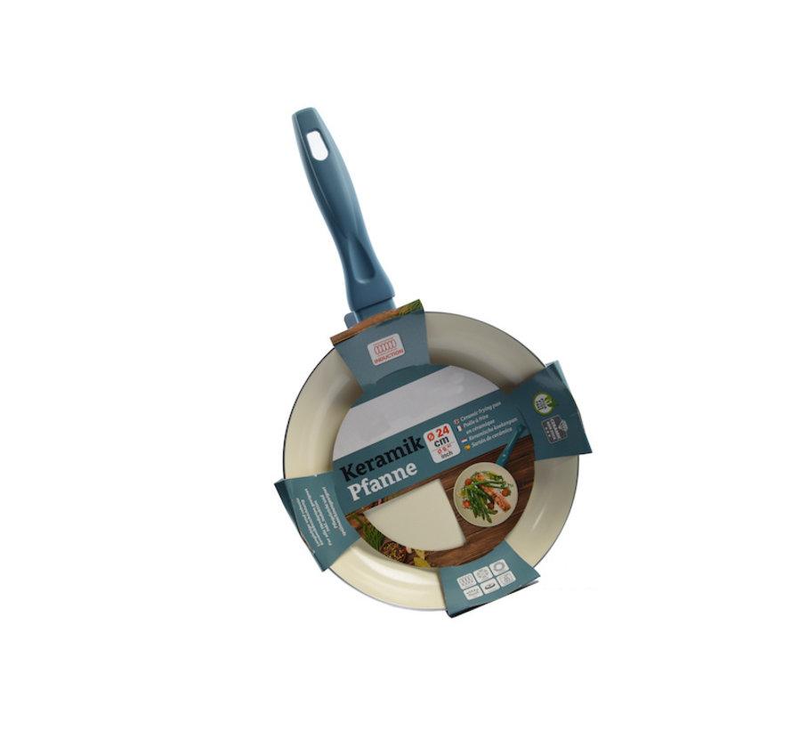 Frying pan - Ø 24 cm - Luxury frying pan of 24 cm Non-stick coating - Light blue