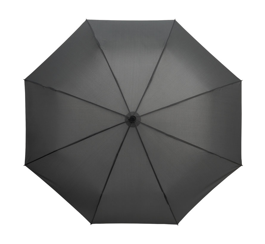 Foldable umbrella, Sturdy and Windproof - 2-part metal pole and frame - rubber handle Gray