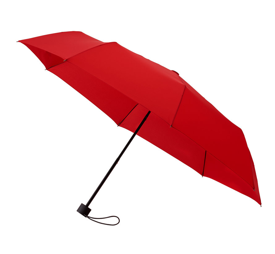 Foldable umbrella, Sturdy and Windproof - 2-part metal pole and frame - Red rubber handle