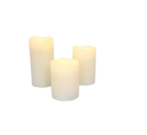 Discountershop LED candle stub candles set 3 pieces with dance flame on remote control