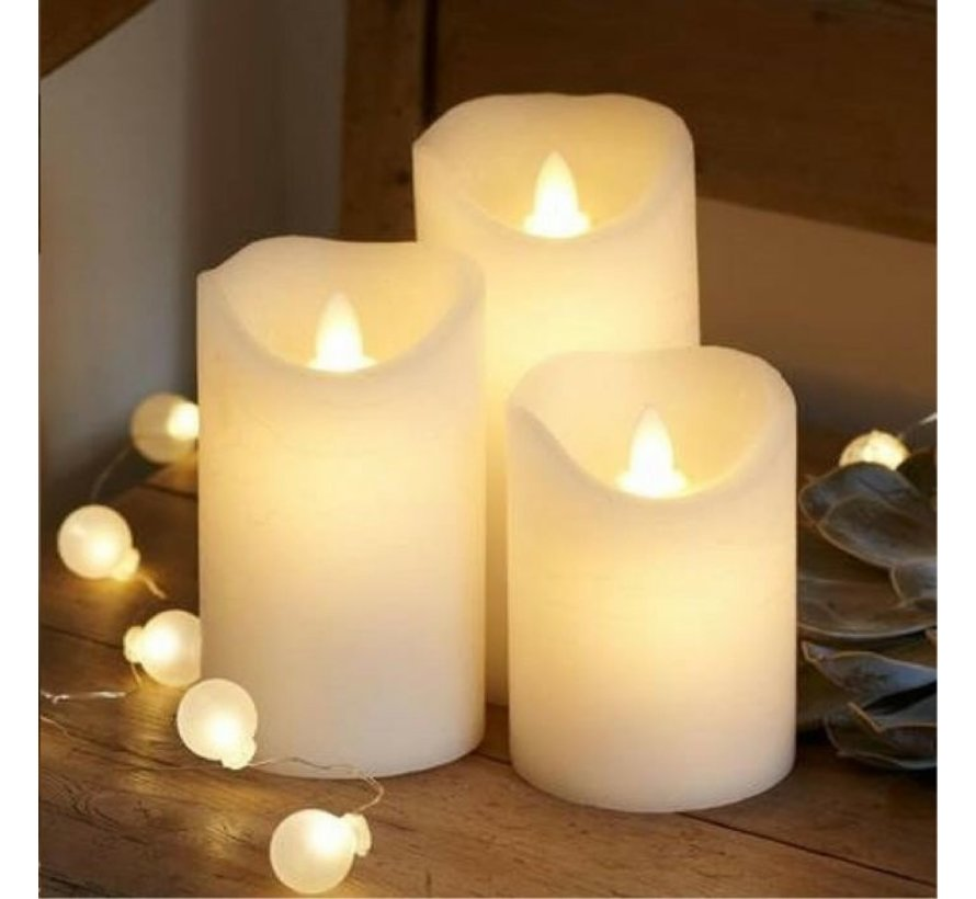 LED candle stub candles set 3 pieces with dance flame on remote control