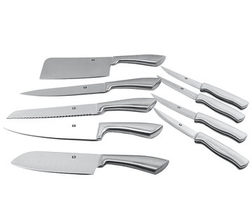 Discountershop Knives 9 pieces stainless steel - Chef's knife - Bread knife - meat knife - Santoku knife - steak knife 4x - chopping knife