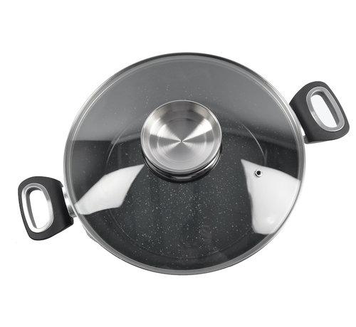 Discountershop serveerpan - Aroma serveerpan met keramisch coating-  glazen deksel - Ø28cm