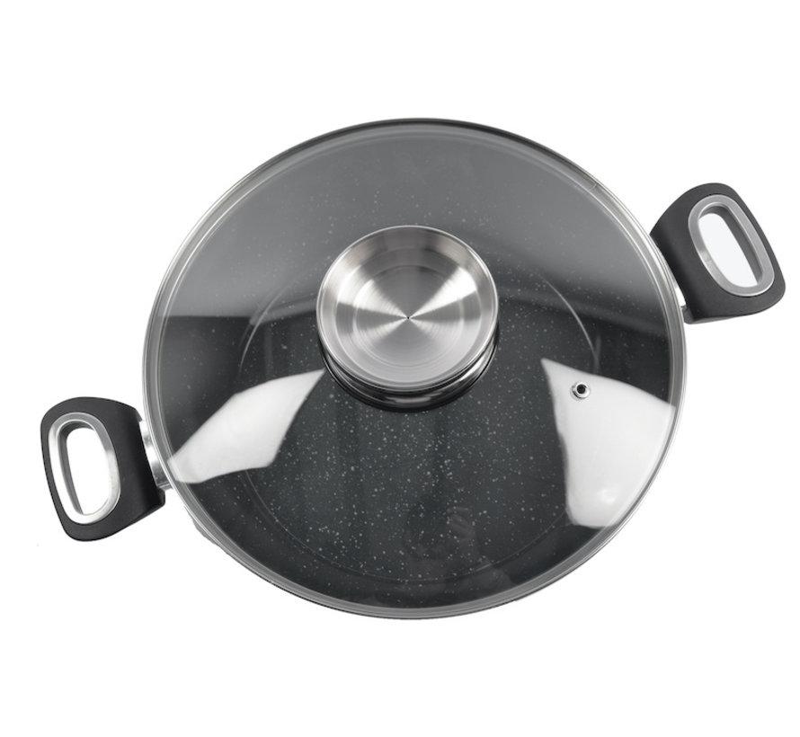 serving pan - Aroma serving pan with ceramic coating - glass lid - Ø28cm