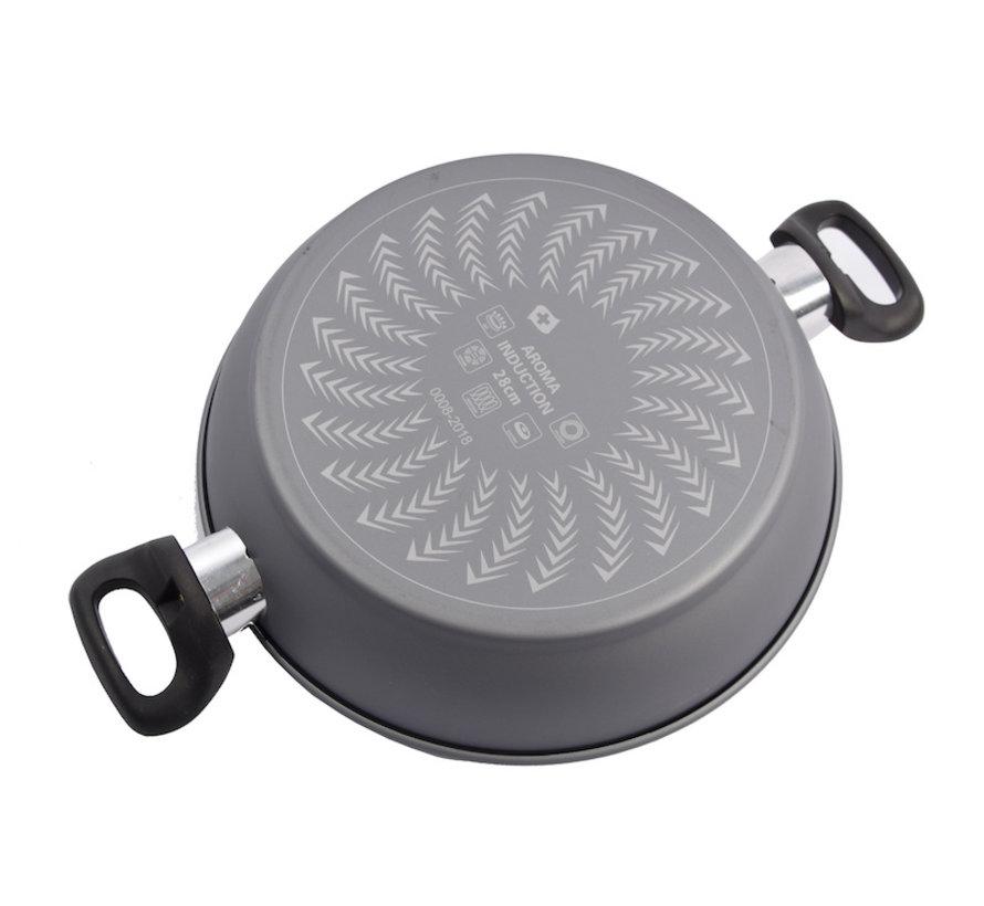 serveerpan - Aroma serveerpan met keramisch coating-  glazen deksel - Ø28cm