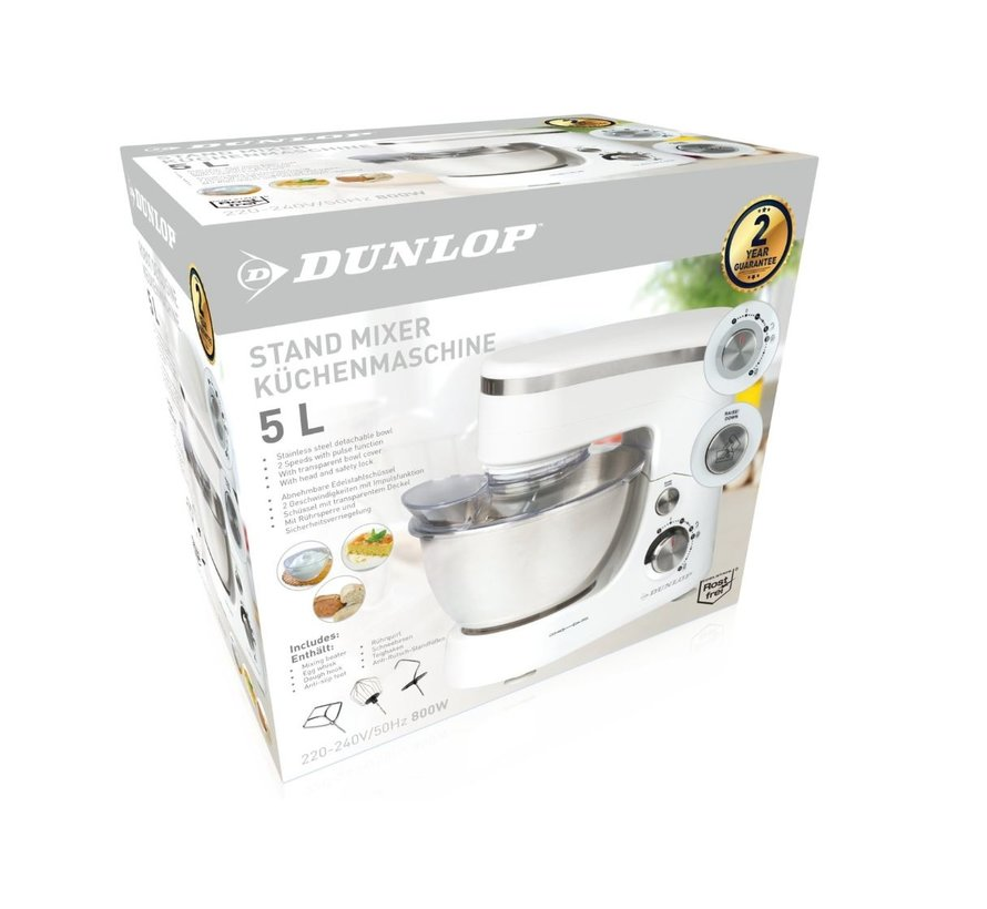 Food processor - 5 liters - Stainless steel bowl - 800 watt - Witzilver - with beater, whisk and dough hook