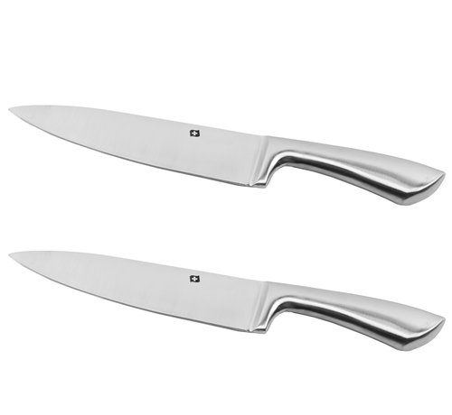 Discountershop Cook knife stainless steel 2 pieces - Cook knife 33.5 cm