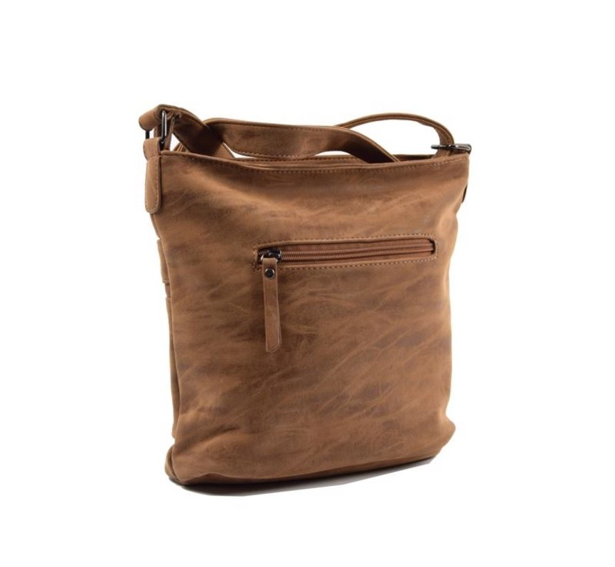 Bicky Bernard Surround Shoulder Bag Taupe Zipper Pockets Trendy Bag - Camel  - Cognac