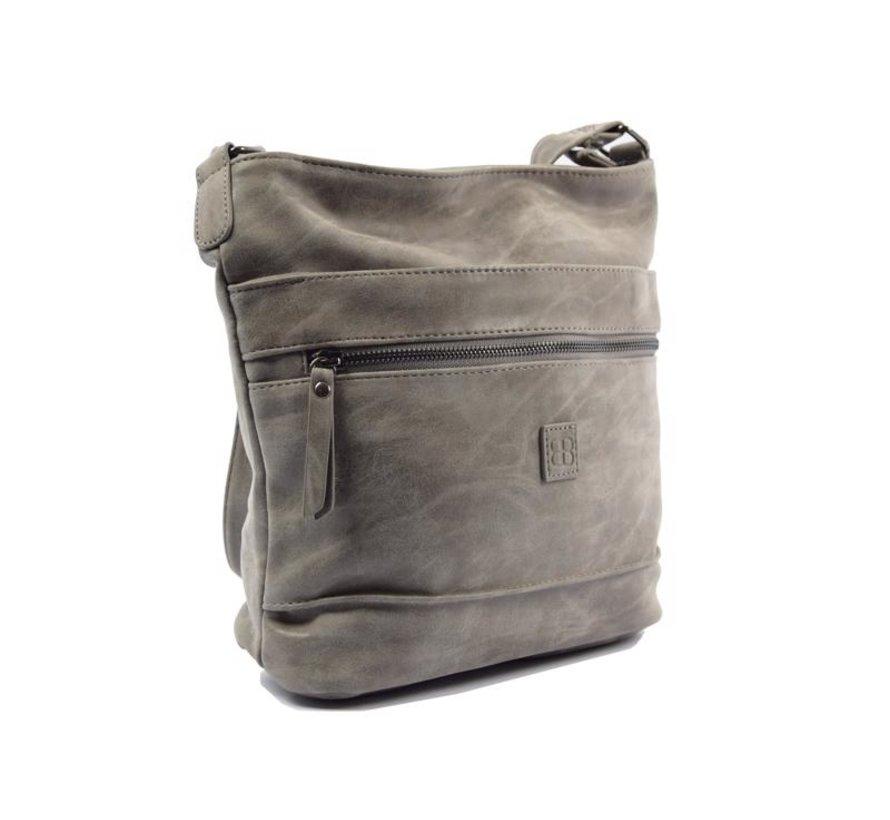 Bicky Bernard Surround Shoulder Bag Taupe Zipper Pockets Trendy Bag - Grey