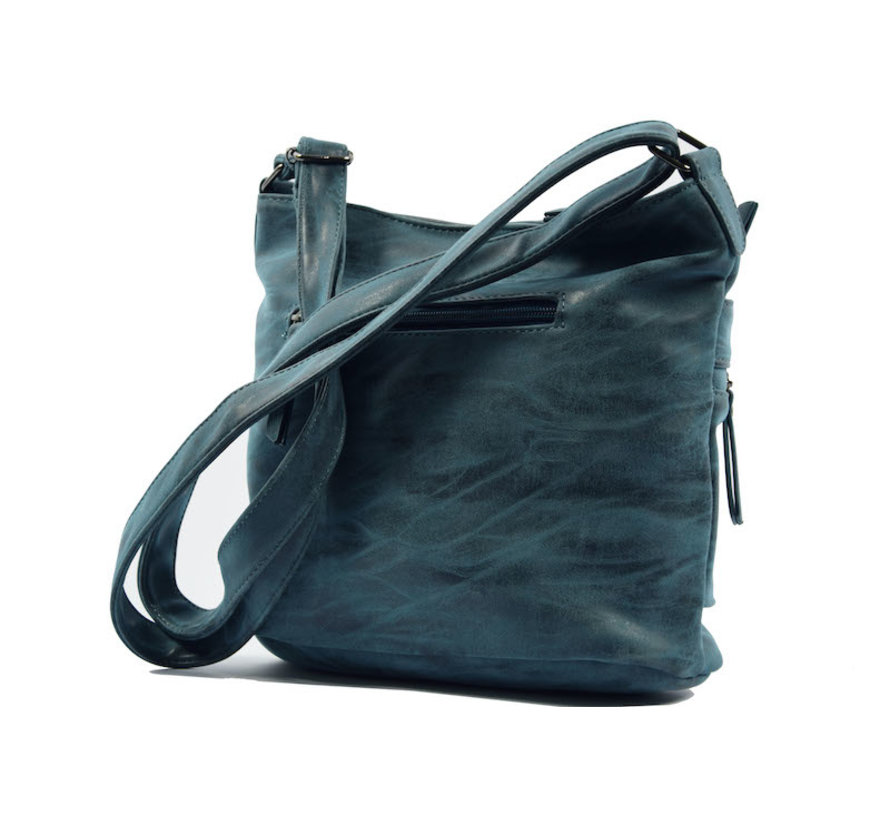 Bicky Bernard Surround Shoulder Bag Taupe Zipper Pockets Trendy Bag - Blue - Dark blue