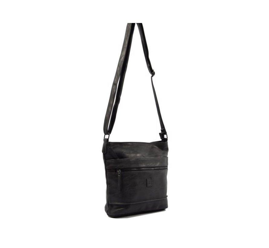Bicky Bernard Surround Shoulder Bag Taupe Zipper Pockets Trendy Bag - black