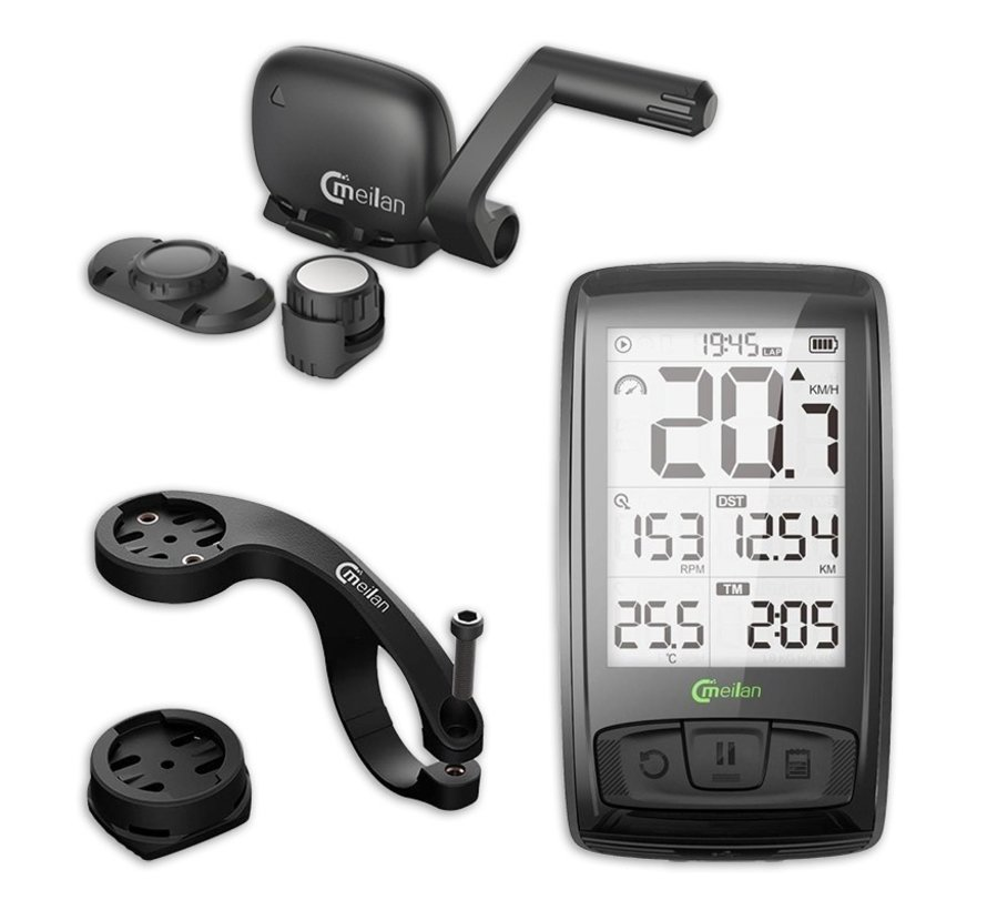 Cycling computer - Cycling computer 2.5 inch - USB rechargeable - Wirelessly linked to speed - With bluetooth - Heart rate monitor and power meter