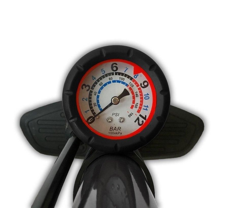 Fietspomp met drukmeter 12 Bar Inclusief Adapters Voor Verschillende Ventielen Bike Pump FietsPomp - Staande fietspomp