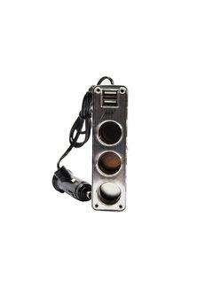 Discountershop car 12v splitter socket 3-way with 2 USB ports Black