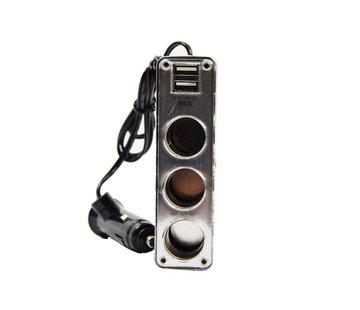 Discountershop auto 12v splitter stekkerdoos 3-voudig met 2 USB poorten Zwart
