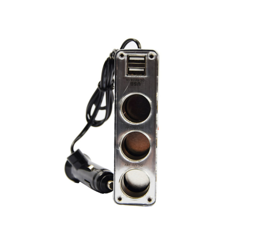 car 12v splitter socket 3-way with 2 USB ports Black