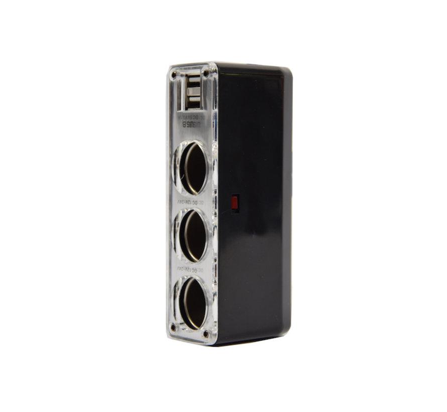 auto 12v splitter stekkerdoos 3-voudig met 2 USB poorten Zwart