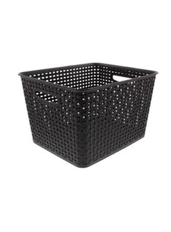 Discountershop Storage basket - Storage tray - Black storage 36 x 30 x 22 cm Rattan