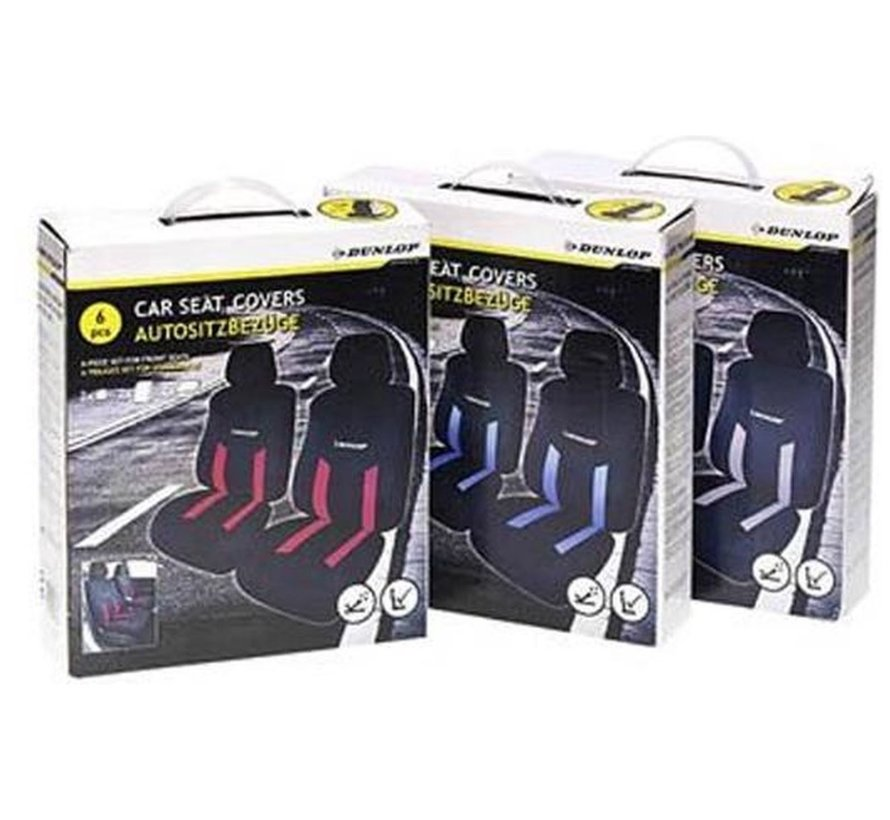 Dunlop car seat covers set - Car seat cover - Seat covers | 6-piece - Blue