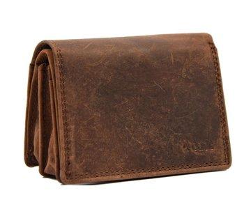 4East Kleine portemonnee van buffelleer, met kleine geld- zeer compact - RFID - vakantie portemonnee - Mini portemonnee. bruin