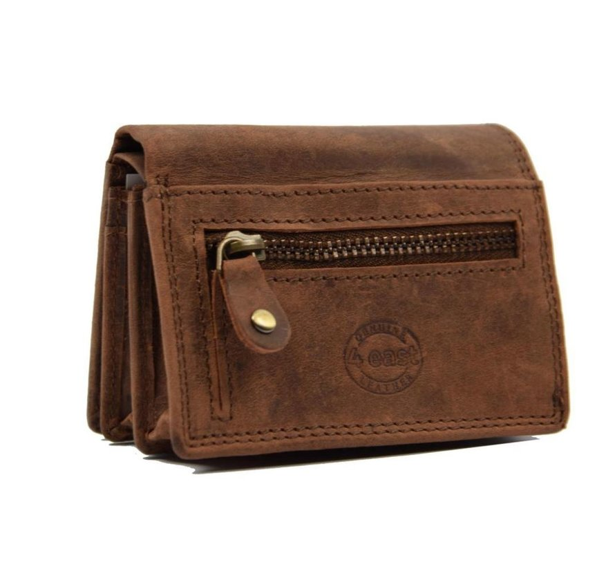 Small buffalo leather wallet, with small money - very compact - RFID - holiday wallet - Mini wallet. brown