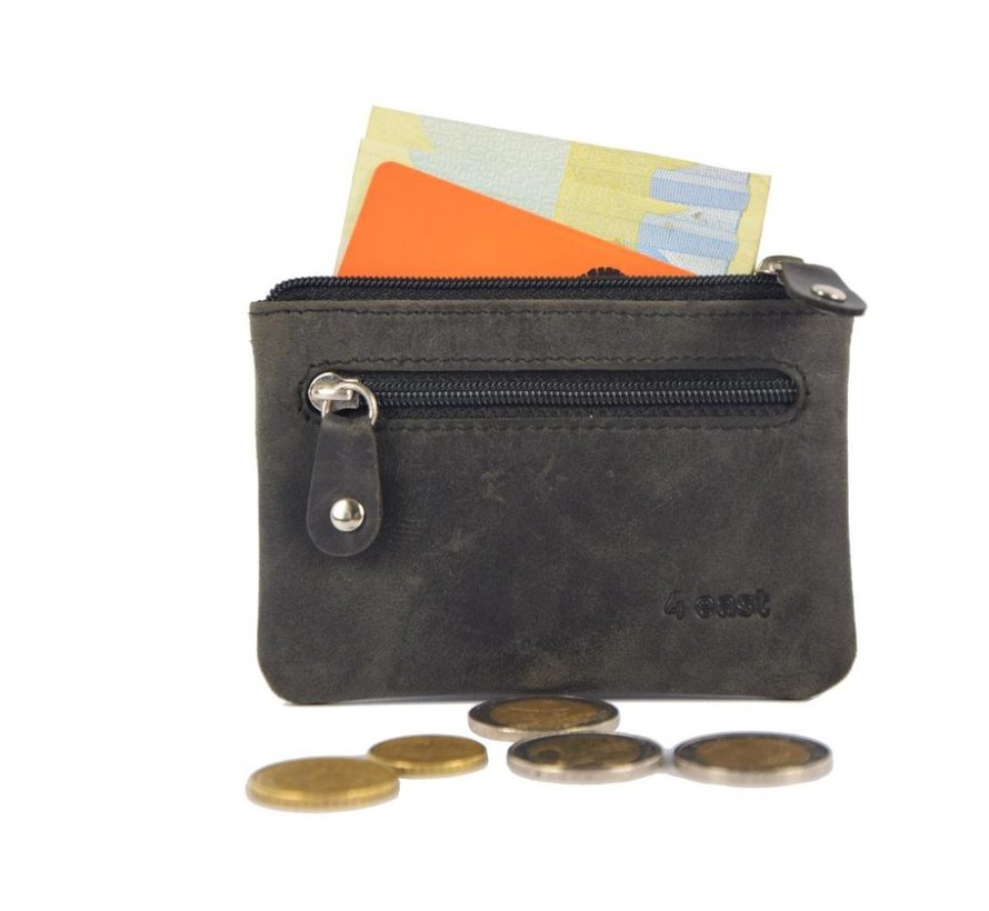 Key pouch wallet - wallet pouch - ring wallet - zipped card holder - zipper wallet - 2 zipper wallet - buffalo leather wallet