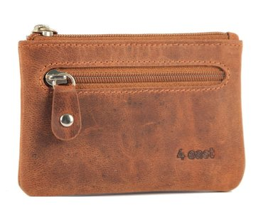 4East Sleuteletui portemonnee - portemonnee etui - ring portemonnee - pasjeshouder met rits - rits portemonnee - 2 ritsen portemonnee - buffelleer portemonnee -