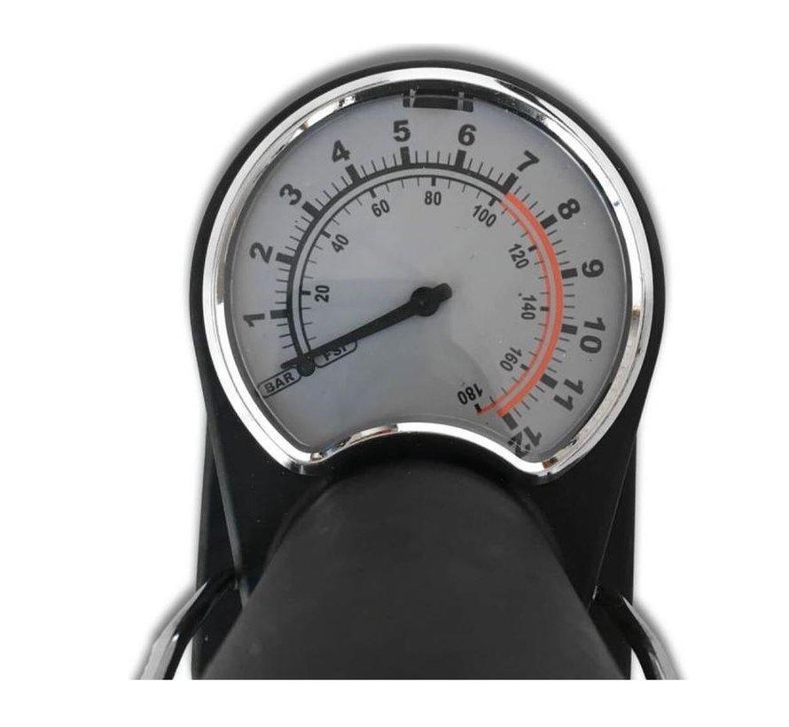 Discountershop - Mini voetpomp met manometer - Dunlop- Presta en schrader ventielen