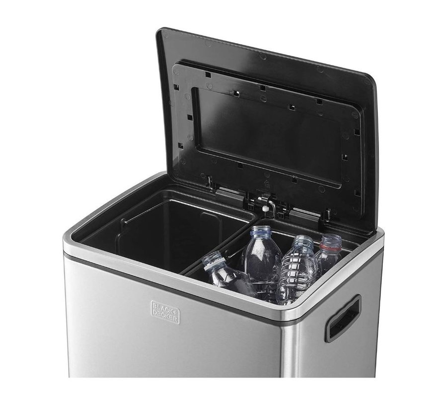 Black + Decker Pedal Bin - 2 x 20L - Stainless Steel - soft close - loose inner buckets 40 Liter
