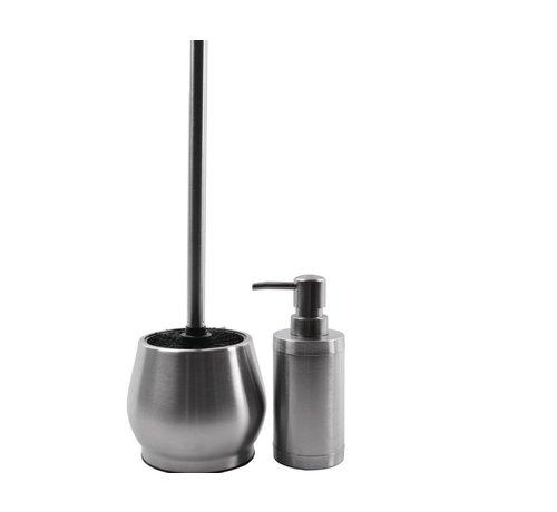 Discountershop Stainless steel toilet brush with soap dispenser - Toilet brush stainless steel - Stainless steel Toilet brush in holder - Toilet brush holder - Toilet brush