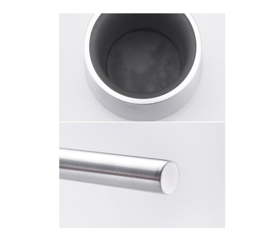 Toiletborstel RVS met Zeepdispenser - Wcborstel Rvs - RVS Toiletborstel in houder - Toiletborstelhouder - Wc borstel