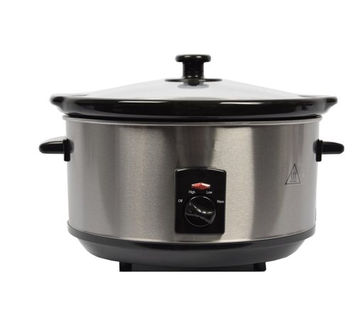 Discountershop Stainless steel slow cooker 3.5 Liter oval