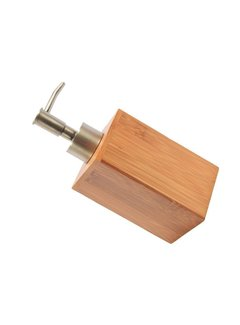 Discountershop Zeepdispenser Bamboe badkamer/toilet - Staand - 250 ml - Bamboe - RVS
