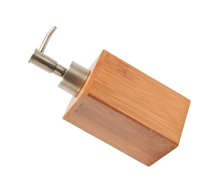 Zeepdispenser Bamboe badkamer/toilet - Staand - 250 ml - Bamboe - RVS