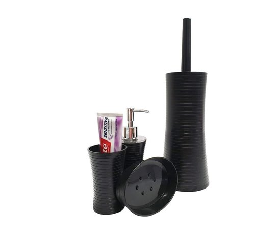 Discountershop Bathroom and toilet set - toilet brush - soap dispenser - soap holder - teeth brush holder