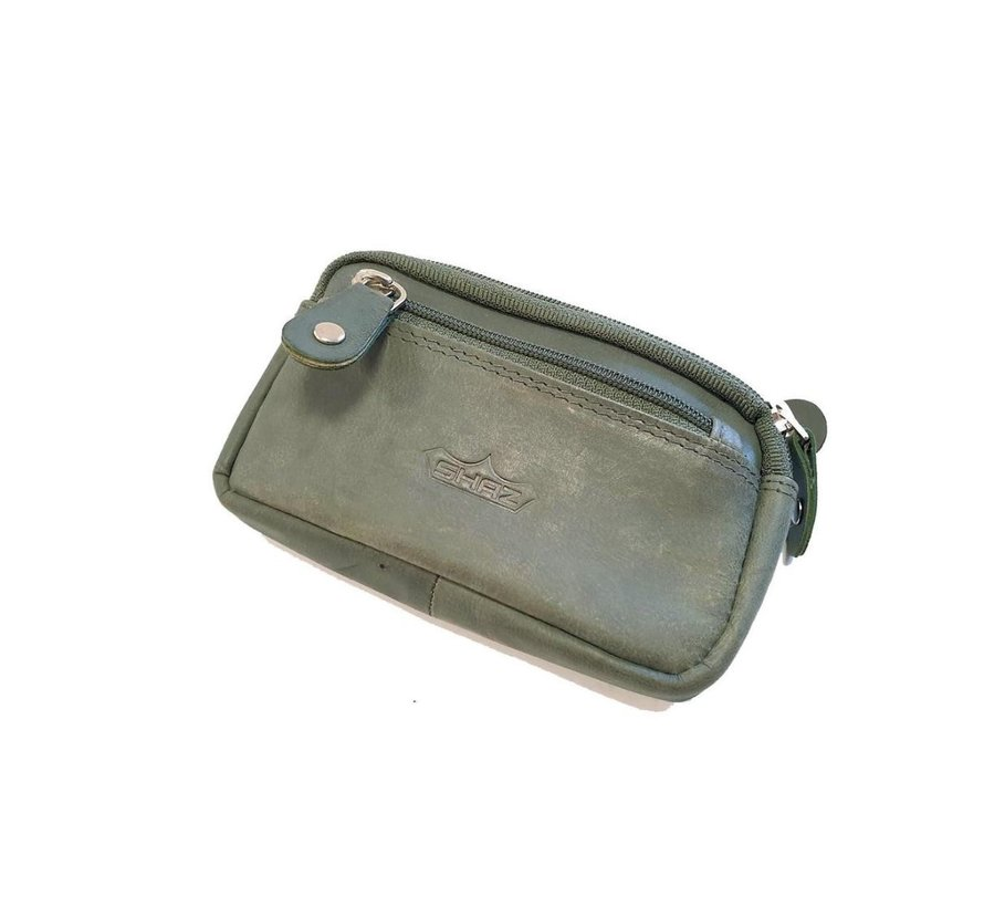 Key holder with 3 compartments and made of buffalo leather Olive