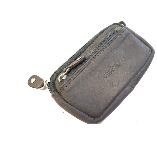 Discountershop Key ring with 3 compartments and made of buffalo leather Black grey