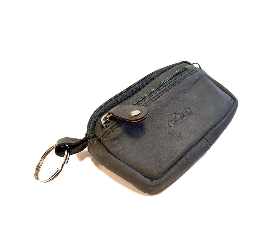 Key ring with 3 compartments and made of buffalo leather Black grey