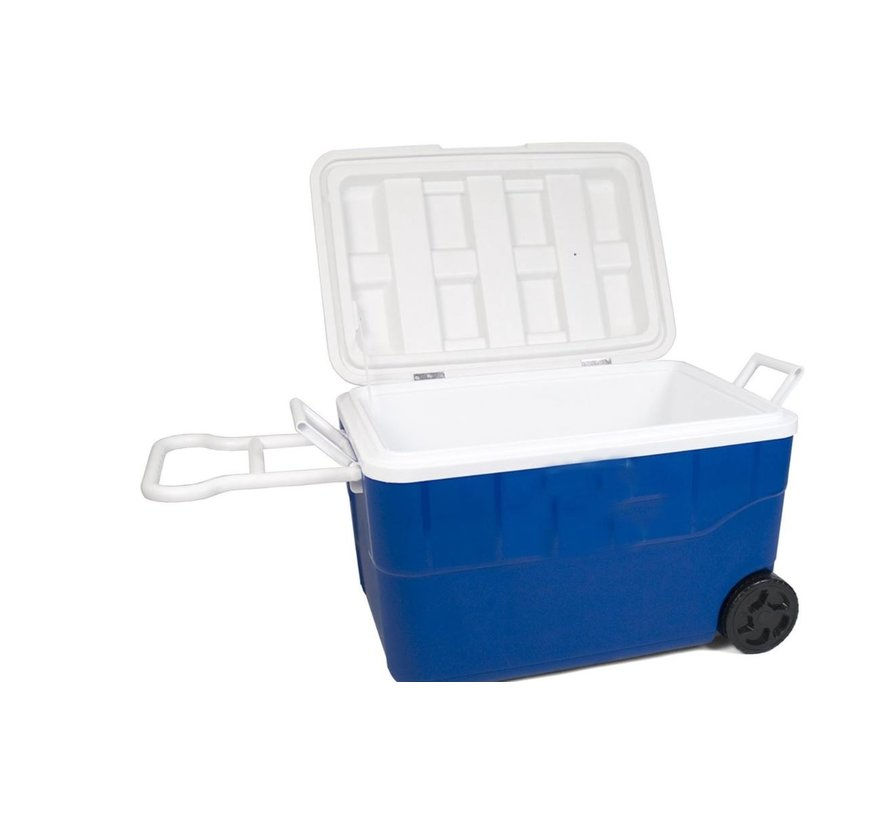 Discountershop Cool box on wheels - blue - 50 liters - Cool box