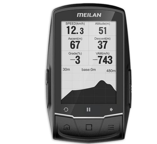 Discountershop Discountershop - GPS bike computer with navigation - USB rechargeable - 2.6 inch mono LCD - 50 types of data.