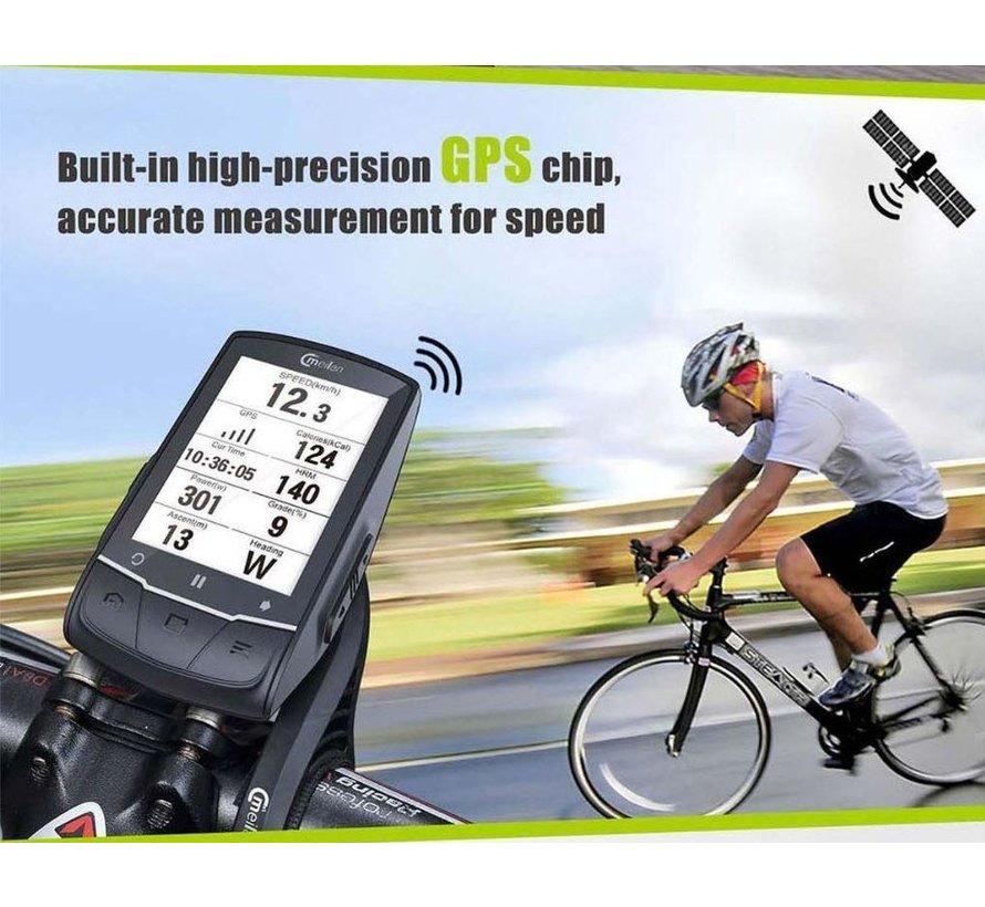 Discountershop - Fietscomputer GPS met navigatie - USB oplaadbaar - 2.6 inch mono LCD - 50 soorten gegevens.