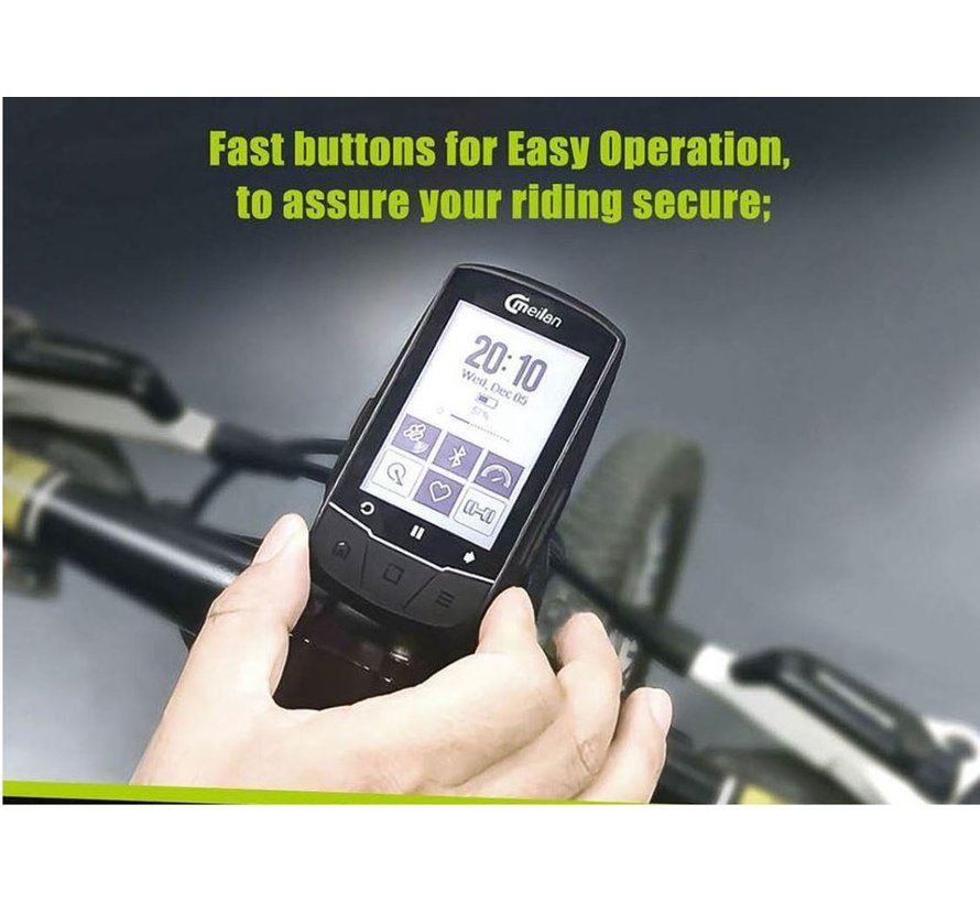 Discountershop - GPS bike computer with navigation - USB rechargeable - 2.6 inch mono LCD - 50 types of data.