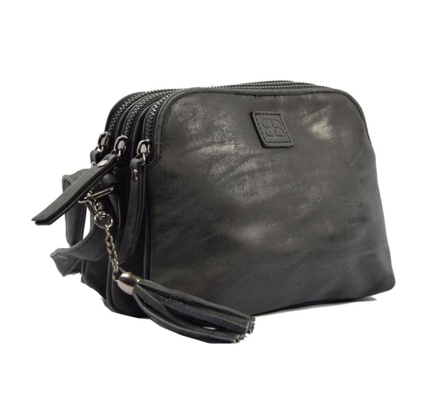 Bicky Bernard Shoulder bag Black with 3 zippers - bag - bags - shoulder bag ladies - handbag - black shoulder bag - shoulder bag girls -