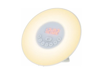 Discountershop Wake Up Light Alarm Clock - Wake Up Naturally - 10 Different Brightness Settings - Snooze Function - Radio is Receivable - Alarm - Different Color Light - Natural Sounds for a Wonderful Awakening