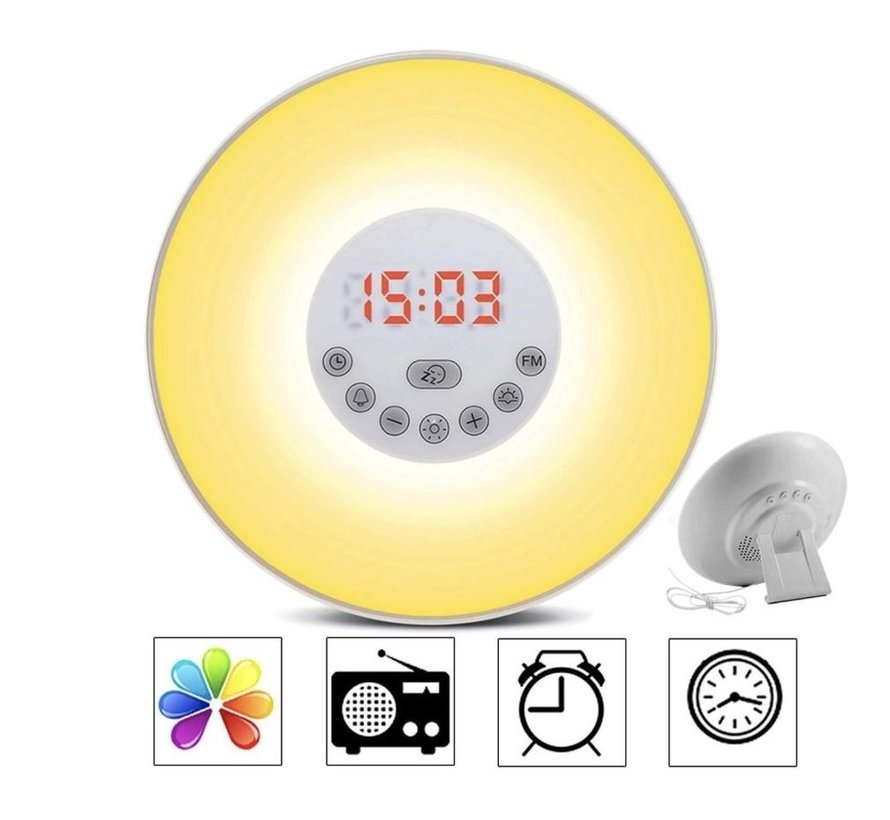 Wake Up Light Alarm Clock - Wake Up Naturally - 10 Different Brightness Settings - Snooze Function - Radio is Receivable - Alarm - Different Color Light - Natural Sounds for a Wonderful Awakening