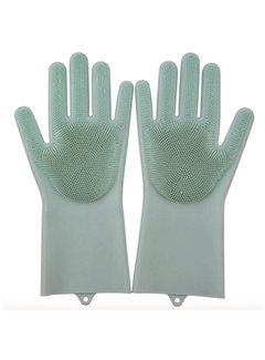 Discountershop 2in1 Magic Silicone Rubber Cleaning Gloves With Sponge - Dusting, Dishwashing, Car Kitchen Cleaning Gloves With Built-In Brush - Light Green
