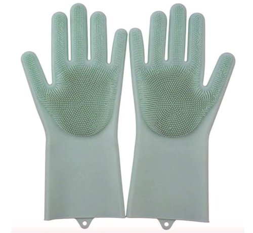 Discountershop  2in1 Magic Siliconen Rubberen Schoonmaak Handschoenen Met Spons - Afstoffen , Afwas , Auto Keuken schoonmaakhandschoenen met ingebouwde Borstel- licht groen