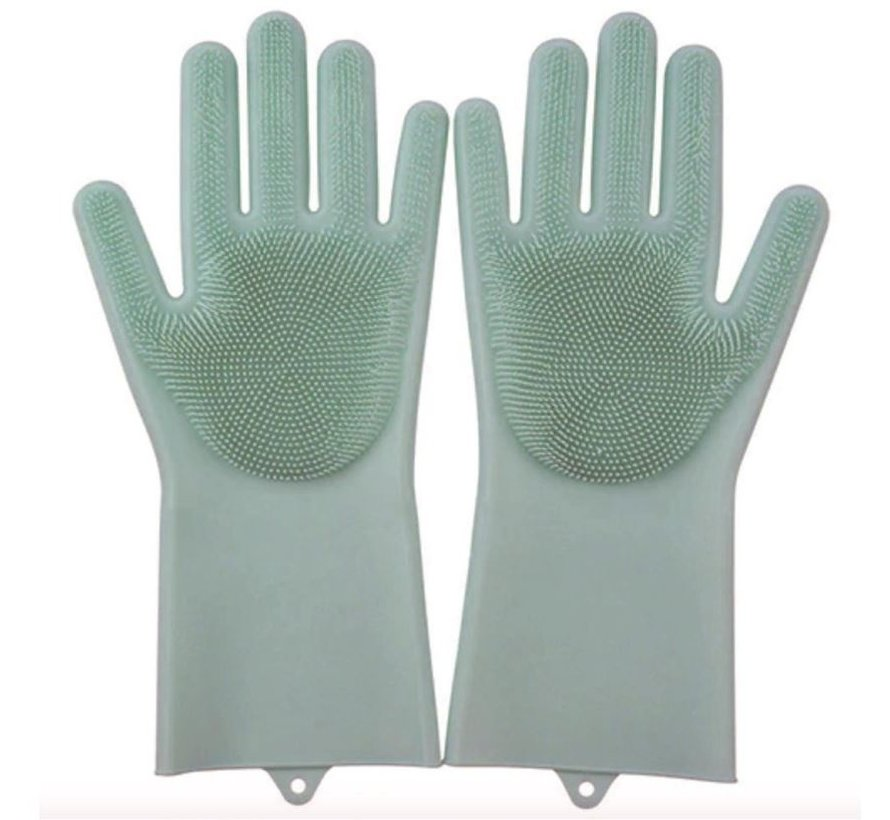 2in1 Magic Silicone Rubber Cleaning Gloves With Sponge - Dusting, Dishwashing, Car Kitchen Cleaning Gloves With Built-In Brush - Light Green